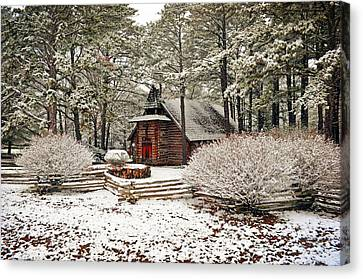 Chapel In The Snow Canvas Print