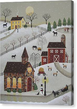 Chapel In The Snow Canvas Print by Mary Charles
