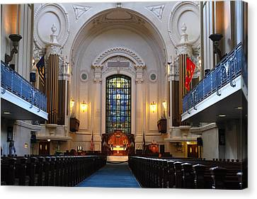 Chapel Interior - Us Naval Academy Canvas Print by Lou Ford