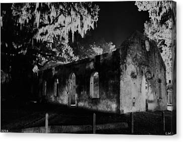 Chapel Of Ease St. Helena Island At Night Black And White Canvas Print by Lisa Wooten