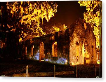 Chapel Of Ease St. Helena Island At Night Canvas Print by Lisa Wooten