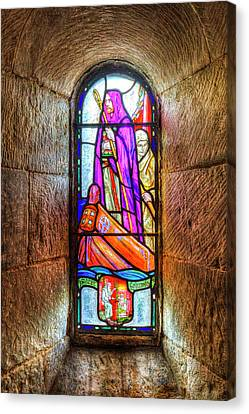 Chapel Stained Glass Window Canvas Print by David Pyatt