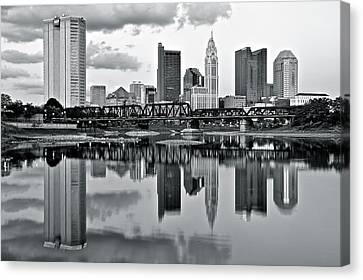 Charcoal Columbus Mirror Image Canvas Print