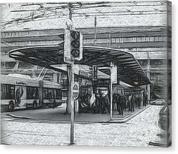 Lucerne Canvas Print - Charcoal Drawing The Station In Lucerne, Switzerland by Eiko Tsuchiya