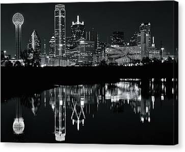 Charcoal Night In Dallas Canvas Print by Frozen in Time Fine Art Photography
