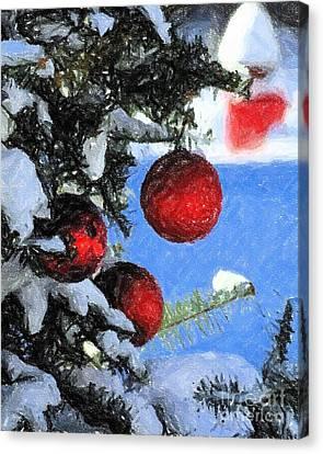 Charcoal Ornaments Canvas Print by Donna Cavanaugh