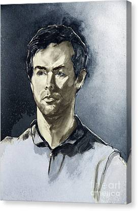 Charcoal Portrait Of A Man In Blue Canvas Print by Greta Corens