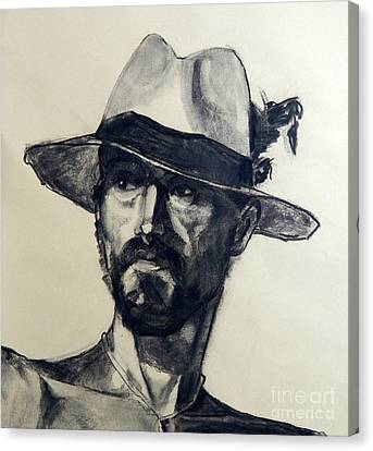 Charcoal Portrait Of A Man Wearing A Summer Hat Canvas Print by Greta Corens