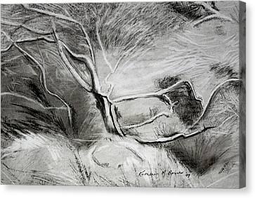 Charcoal Tree Canvas Print