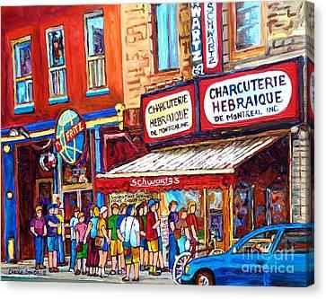 Charcuterie Schwartz Line Up Montreal Summer Scene Painting Rue St Laurent Carole Spandau Canvas Print