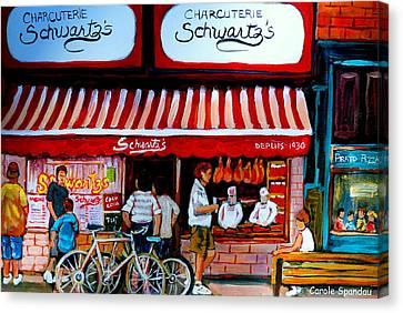 Charcuterie Schwartz's Deli Montreal Canvas Print by Carole Spandau