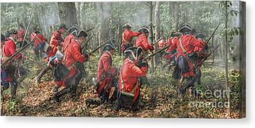 French And Indian War Canvas Print - Charge Of The 60th Royal Americans Regiment At Bushy Run by Randy Steele