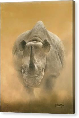 Charging Rhino Canvas Print by Kathie Miller