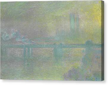 City Of Bridges Canvas Print - Charing Cross Bridge, London by Claude Monet