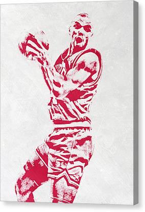 Charles Barkley Philadelphia Sixers Pixel Art Canvas Print by Joe Hamilton