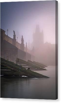 Charles Bridge At Autumn Foggy Day, Prague, Czech Republic Canvas Print