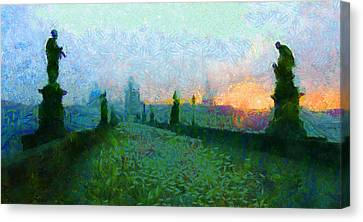 Charles Bridge At Dawn Canvas Print by Peter Kupcik