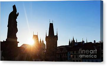 Charles Bridge At Sunrise, Prague, Czech Republic. Statues And Towers Silhouettes Canvas Print