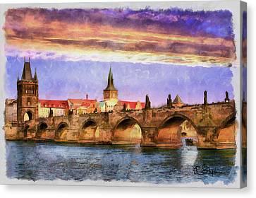 Charles Bridge At Sunset Canvas Print by Richard Stephen