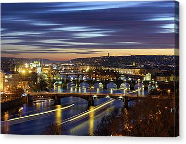 Charles Bridge During Sunset With Several Boats, Prague, Czech Republic Canvas Print