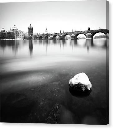 Charles Bridge During Winter Time With Frozen River, Prague, Czech Republic Canvas Print
