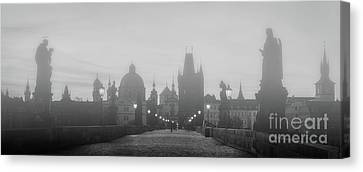 Charles Bridge In Fog At Sunrise, Prague, Czech Republic. Dramatic Statues And Medieval Towers. Canvas Print