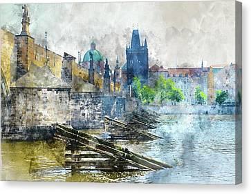 Charles Bridge In Prague Czech Republic Canvas Print by Brandon Bourdages