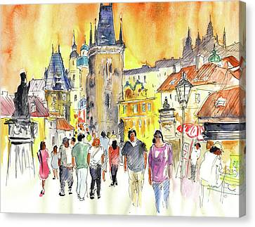 Charles Bridge In Prague In The Czech Republic Canvas Print by Miki De Goodaboom