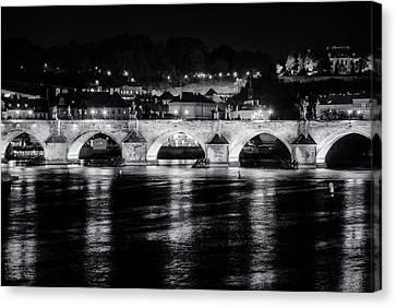 Charles Bridge Prague Night Canvas Print