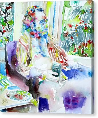 Charles Bukowski - Watercolor Portrait.5 Canvas Print