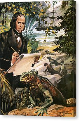 Charles Darwin On The Galapagos Islands Canvas Print by Andrew Howat