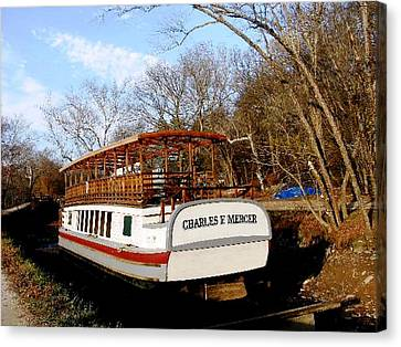 Charles E Mercer Boat - Great Falls Md Canvas Print by Fareeha Khawaja