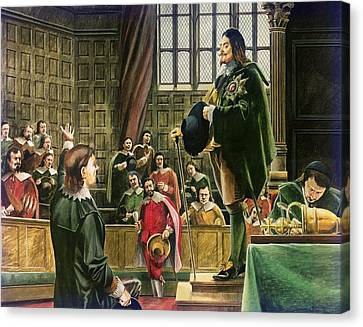 Charles I In The House Of Commons Canvas Print by English School