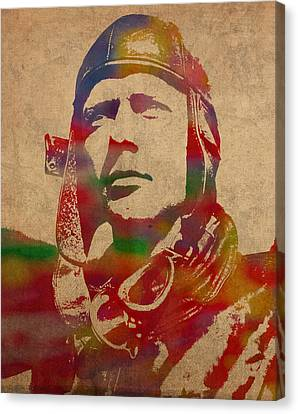 Charles Lindbergh Watercolor Portrait Canvas Print by Design Turnpike