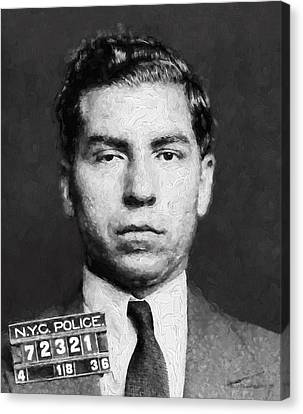 Law Enforcement Canvas Print - Charles Lucky Luciano  Mugshot Painterly by Daniel Hagerman