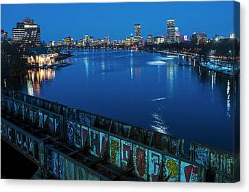 Charles River At Dusk Dewolfe Boathouse Boston Skyline Canvas Print