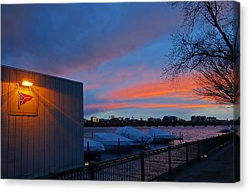 Charles River Boathouse At Sunset Boston Ma Canvas Print by Toby McGuire