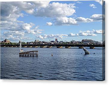 Charles River Boston Ma Crossing The Charles Citgo Sign Canvas Print by Toby McGuire