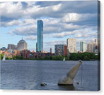 Charles River Boston Ma Crossing The Charles Canvas Print by Toby McGuire