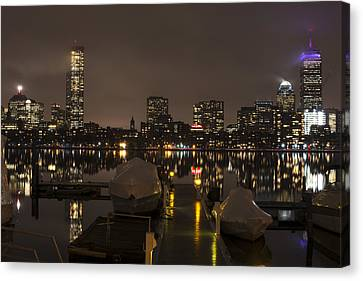 Charles River Rainy Night Clear Reflection Pier Canvas Print by Toby McGuire