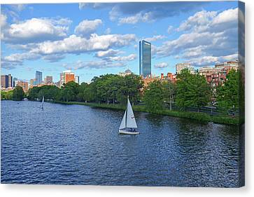 Charles River Sailboat Boston Ma Hancock Canvas Print by Toby McGuire