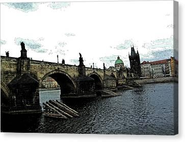 Charles Street Bridge In Prague Canvas Print by Paul Pobiak