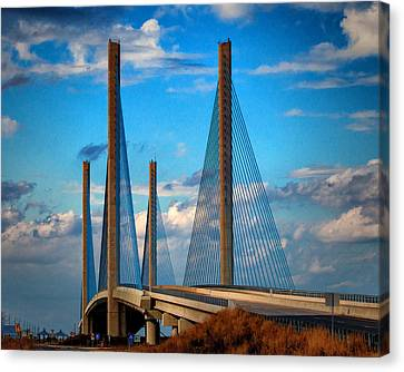 Charles W Cullen Bridge South Approach Canvas Print by Bill Swartwout