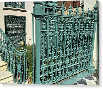 Canvas Print featuring the photograph Charleston Aqua Turquoise Rod Iron Gate John Rutledge House - Charleston Historical Architecture by Kathy Fornal