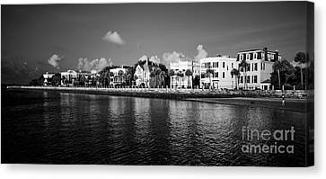 South Carolina Canvas Print - Charleston Battery Row Black And White by Dustin K Ryan