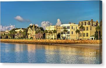 Canvas Print - Charleston Battery Row Of Homes  by Dustin K Ryan