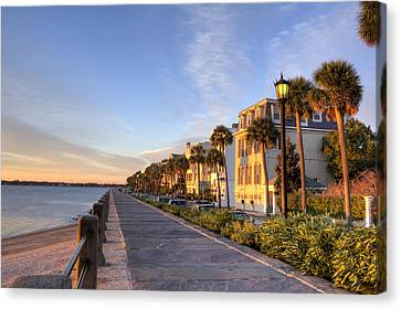 Charleston East Battery Row Sunrise Canvas Print by Dustin K Ryan