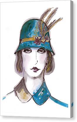 Cap Canvas Print - Charleston Girl Watercolor by Marian Voicu