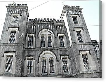 Charleston Historical Haunted Old Jail House - Charleston Old Jail Civil War Architecture  Canvas Print by Kathy Fornal
