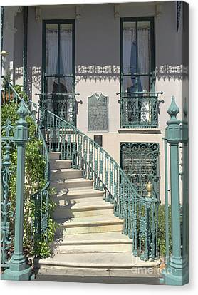 Canvas Print featuring the photograph Charleston Historical John Rutledge House - Aqua Teal Gate Staircase Architecture - Charleston Homes by Kathy Fornal